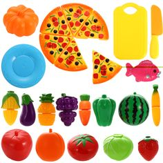 Funslane Pretend Play Food Set 24 Pcs Cutting for Kids Kitchen Toys Fun Pizza for sale online Play Food Set, Pretend Food, Pretend Play, Role Play, Barbie Doll Set, Barbie Doll House, Baby Doll Accessories, Colorful Birthday, Toy Kitchen
