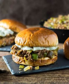 These Philly Cheesesteak Sloppy Joes are not your mom's sloppy joes! Big cheesesteak flavor, tender pepper and onions, and gooey melted cheese are packed in every bite! Well, my neighborhood is going to pot. Milk Recipes, Crockpot Recipes, Great Recipes, Cooking Recipes, Favorite Recipes, Popular Recipes, Healthy Cooking, Homemade Sloppy Joes, Sloppy Joes Recipe
