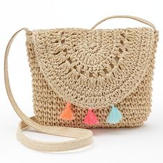 Girls 4-16 Crochet Tassel Crossbody Bag, Natural