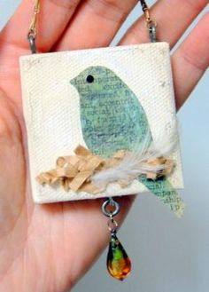 bird in nest: small mixed media canvas... loving this! by Patsy Lynch