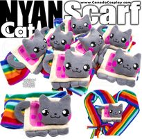 Nyan Cat Scarf by calgarycosplay Adorable! Dragonair, Cat Scarf, Nyan Cat, Amaterasu, Nerd, Teddy Bear, Kids Rugs, Kawaii, Deviantart