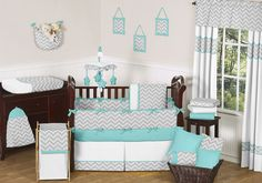 Sweet Jojo Designs Zig Zag Turquoise and Gray 9pc Baby Crib Bedding Set available at TinyTotties.com