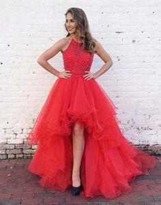 red prom dress, hi-lo prom dress, 2018 prom dress, A-line prom dress, cheap prom gown, BD2641