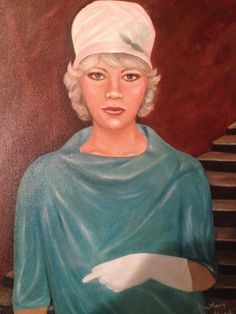 I painted this for my mom for Mother's Day. It's from a photo of her in 1961. She cried