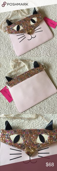 "🌺NWT! BETSEY JOHNSON ""Rare"" BLUSH CAT CLUTCH BRAND NEW! BETSEY JOHNSON ""Rare"" BLUSH CAT CLUTCH WITH SEQUINS!!-Approximate Measurements are 11"" X 8"", with a detachable gold tone chain strap, with an approximate strap drop of 23"".....VERY COLLECTIBLE!!! Betsey Johnson Bags Clutches & Wristlets"