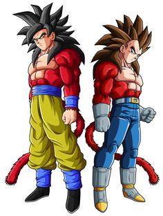 Goku SSJ4 and Vegeta SSJ4 by ~drozdoo on deviantART