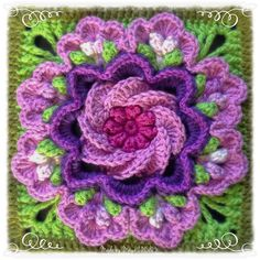 Crochet Granny Square Ideas My Tropical Delight Square from Laurel's Place! Grannies Crochet, Freeform Crochet, Crochet Motif, Crochet Crafts, Crochet Doilies, Crochet Yarn, Crochet Projects, Crochet Afghans, Crochet Stitch