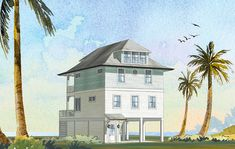 Callou Bay - Coastal Home Plans Coastal House Plans, Beach House Plans, Coastal Homes, Elevated House Plans, Kitchen Island Bar, Covered Front Porches, Sliding Glass Door, Glass Doors, Upstairs Bedroom