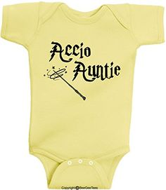 1dd16fc98aba Accio Auntie Funny Harry Potter Baby Onesie by BeeGeeTees... https