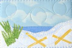 Relaxing at the Beach Fabric Postcard Frameable Mini by SewUpscale, $12.00