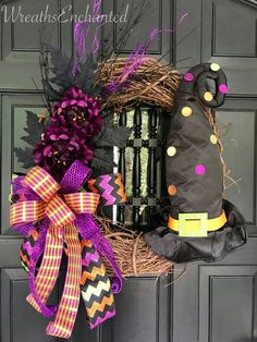 Excited to share this item from my #etsy shop: Halloween Witch Hat Wreath Front Door Black Orange Purple Wreath Whimsical Halloween Decor Not Scary decor Wreath Free Shipping #purple #black #halloween #witch #glitter #bow #hat #frontdoor