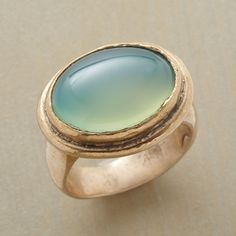 HIDDEN COVE RING -- A dome of verdant gemstone shimmers like tropical waters in a beautifully handcast, polished bronze and green agate ring. Whole sizes 5 to 9. Rings are running a bit large, half sizes should order down to the next full size.