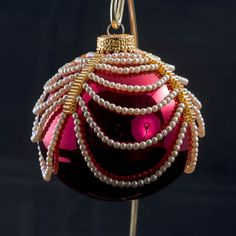 Shiny red ball ornament with draped pearls and by BeadedChristmas, $50.00