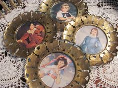 Vintage Gold Tin  Framed Wall Hanging Pictures by THISPLUSTHAT, $14.75