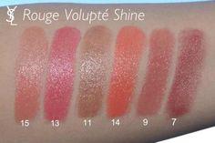 YSL Rouge Volupte Shine Swatches