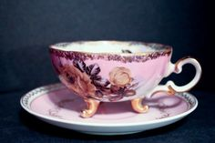 Vintage Teacup and Saucer with Claw Feet by ThisAndThatAndEtc, $19.99