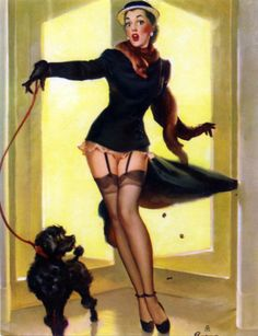 Pin Up with dog, by Gil Elvgren