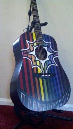 Originally Designed Acoustic Guitar Hand Painted by lindseywarrick