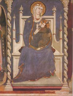 Lippo_Memmi. Липпо Мемми (1291-1356). Мадонна дель Латте. 1314 - 1315 Сан-Джиминьяно, chiesa ди Sant'Agostino.
