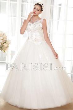 vestidos de novia Ball-Gown Elegante Moderno Glamouroso Encaje Flors Hasta Suelo V-cuello Sin Mangas Marfil Encaje Tul