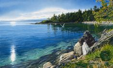 """""""Sun Warmed Shore"""" watercolor painting by artist Carol Evans. Watercolor Landscape, Landscape Art, Abstract Watercolor, Landscape Paintings, Landscapes, Watercolor Paper, Seascape Paintings, Watercolor Paintings, Watercolors"""