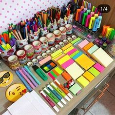 Swipe for more lovely stationery😍 . ⠀ ⠀ ⠀ Our Vale. Swipe for more lovely stationery😍 . ⠀ ⠀ ⠀ Our Valentine Sale is on! Craft Closet Organization, Stationary Organization, School Organization, Diy Organisation, Organizing, Study Room Decor, Cute Room Decor, School Stationery, Cute Stationery