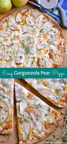 This Easy Gorgonzola Pear Pizza is quick, easy to make, and delicious. Serve this Pear and Blue Cheese Pizza for a party or for a yummy weeknight dinner! Mushroom Pizza Recipes, White Pizza Recipes, Dinner Recipes, Pear Gorgonzola Pizza, Pear Pizza, Vegetarian Pizza, Best Vegetarian Recipes, Healthy Recipes, Cheesy Pizza Recipe