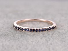 Natural Blue Sapphire Engagement Ring,Solid 14k Rose Gold,Half Eternity Stacking Matching Wedding Bands - BBBGEM