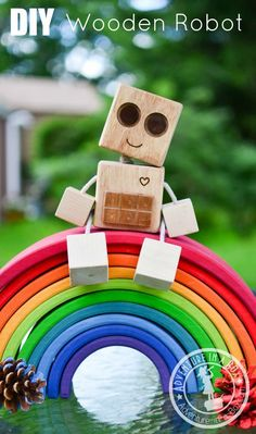 DIY Wooden Robot Buddy: If you want to make a simple wooden toy with a minimum of tools or are looking for the first woodworking lesson for older kids, try this homemade robot! #woodworkingforchildren