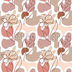 Shapes And One Line Flowers Vector Pattern by Galyna Tymonko at patterndesigns.com Vector Pattern, Pattern Design, Line Flower, Abstract Pattern, Your Design, Monochrome, Shapes, Patterns, Floral