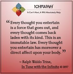 Every thought you entertain is a force that goes out, and every thought comes back laden with its kind. This is an immutable law. Every thought you entertain has moreover a direct affect upon your body. – Ralph Waldo Trine, In Tune with the Infinite (1897)