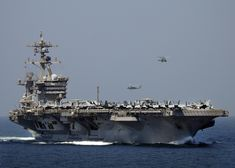 Spanning 1,092 feet long — three times the length of a football field — Nimitz-class warships like the USS George H.W. Bush are the largest aircraft carriers.