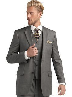 Suits - Joseph & Feiss Gold Sharkskin Vested Suit, Gray - Men's Wearhouse