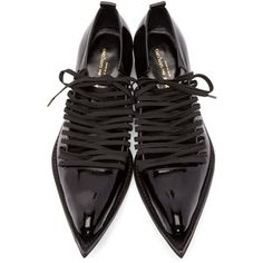 Comme des Garçons Black Patent Leather Pointed Oxfords