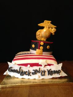 Created for a US Marine reporting back to duty. May God Bless Him and keep him safe. Chocolate cake with fudge filling and froting Marine Cake, Fudge, Chocolate Cake, God, Desserts, Chicolate Cake, Dios, Tailgate Desserts, Chocolate Cobbler