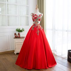 Red Floral Prom Dresses Long Formal Dresses Satin Pageant Gowns sold by lovedress. Shop more products from lovedress on Storenvy, the home of independent small businesses all over the world. Floral Prom Dress Long, Homecoming Dresses, Wedding Dresses, Mexican Dresses, Pageant Gowns, Formal Gowns, Dress Formal, Evening Dresses, Church Dresses