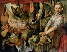 Joachim Beuckelaer - Kitchen Interior, 1566.  Shoulder seam on the kirtley thingy?  Also, brown apron!