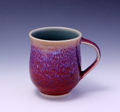 Wheelthrown Porcelain Mug with red and blue speckles by hsinchuen, $45.00