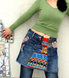 M-L Fantasy patchwork embroidered recycled mini by jamfashion