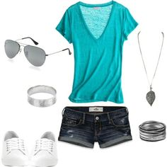 #Fashion #Summer #Trend. summer clothes--pretty blue, but I don't like the style of the shirt...