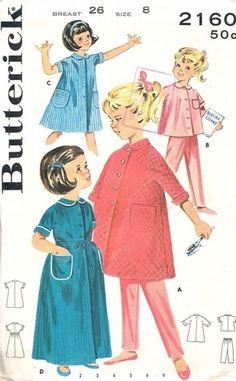 Butterick Pattern 2160 Vintage Charming Girls Sleepwear - Robes, Pajamas! Uncut Size 8