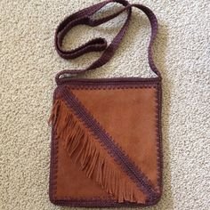 "HOST PICK Suede/macrame purse with fringe. Inside zippered pocket. Zipper closure. Approximately 46"" strap. Never used. NWOT. Always happy to bundle. Bags"