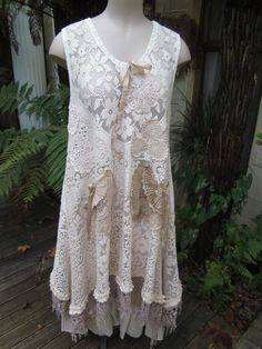 Upcycled floral lace tunic