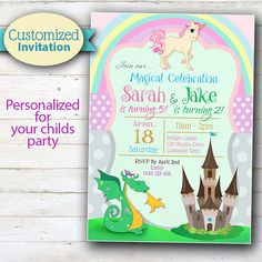 CUSTOMIZED Dragon and Unicorn, Fairy Tale Party - Printable Invitation, personalized for your child. ▬▬▬▬▬▬▬▬▬▬▬▬▬▬▬▬▬▬▬▬▬▬▬▬▬▬▬▬▬▬▬ Please read all the details below AND our store policies before purchasing, thank you. ▬▬▬▬▬▬▬▬▬▬▬▬▬▬▬▬▬▬▬▬▬▬▬▬▬▬▬▬▬▬▬  Personalized for your child (yes! ALL the wording on the invitation can be altered), this colorful invitation is a digital product that can be printed at home or professionally, or emailed to your friends!  This purchase includes:  ♥…
