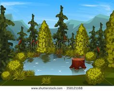 view from above. forest lake  #assets #game #vector #UI #cartoon #casual #awesome