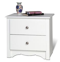 Prepac WDC-2422 White Monterey Collection 2 Drawer Night Stand in White