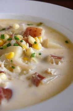 corn and crab chowder....