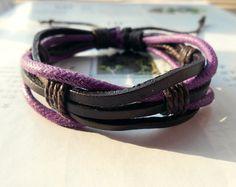 Popular Trend Fashion Multilayer black Leather cuff Cute Purple Cotton cord Adjustable Wrap Bracelet M-55