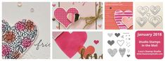 Stamp with me from home with pre-cut supplies to make 8 card with accessories, a video and PDF tutorial. Studio Stamps in the Mail. Stampin' Up!'s Heart Happiness & Sweet & Sassy Framelits.