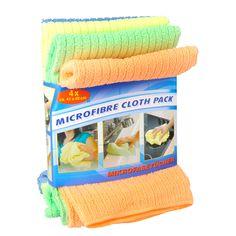 Set van 4 gekleurde microvezel schoonmaakdoekjes. Afmeting: 41 x 48 cm - Microvezeldoek  4dlg